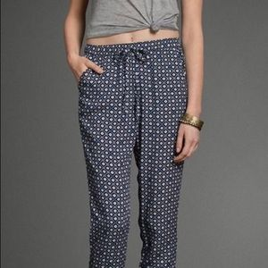 Abercrombie Blue and White floral print pants